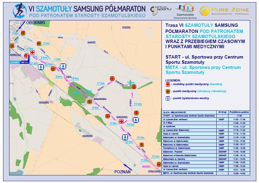 Trasa tegorocznego VI Szamotuły Samsung Półmaratonu